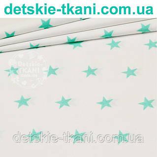 Ткань с мятными звёздами на белом фоне (№42).