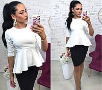 Костюм женский юбка-карандаш+блуза с баской, цвет - черный