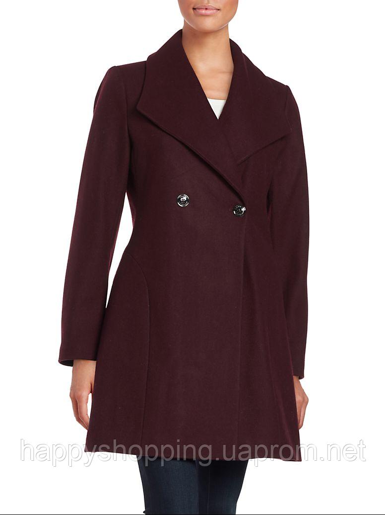 Женское стильное оригинальное бордовое шерстяное пальто весна/осень Michael Kors