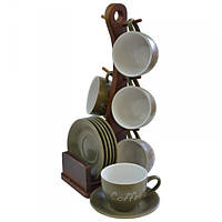 Кофейный набор Nature из 13 предметов на деревянной подставке Krauff 24-269-027