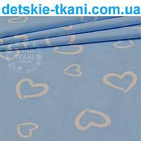 """Ткань бязь """"валентинка на голубом"""" (№111)."""