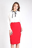 Молодежная классическая юбка с подкладкой КРАСНАЯ, фото 1