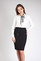 Молодежная классическая юбка с подкладкой ЧЕРНАЯ, фото 1
