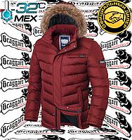 Мужская зимняя куртка с мехом Браггарт - 4219#4220 красный