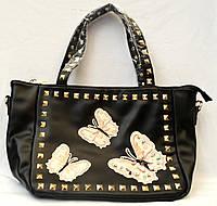 Женская черная сумка Премиум класса с бабочками 28*23
