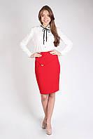 Молодежная классическая юбка с подкладкой КРАСНАЯ