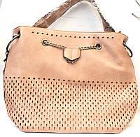 Женская персиковая сумка Премиум класса с перфорацией 31*34