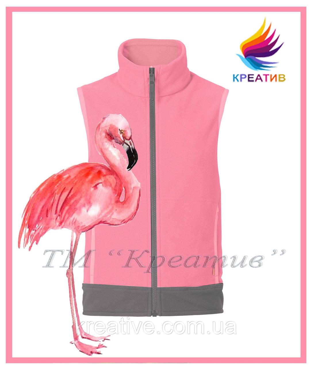 Жилет флисовый розовый фламинго (под заказ от 50 шт.)