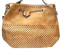 Женская коричневая сумка Премиум класса с перфорацией 31*34