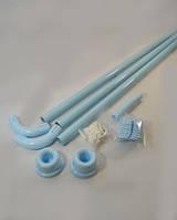 Угловой карниз для шторы в ванну 90х90х90 см голубой