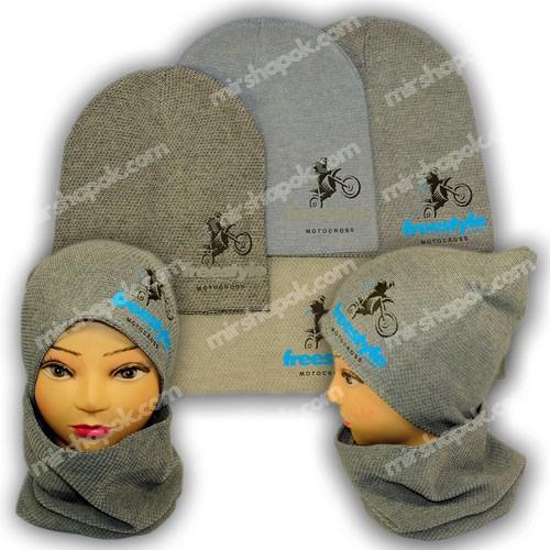 Вязаная шапка с хомутом для мальчика, KY38B