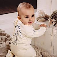 Детский комбинезон для новорожденных кремовый с принтом