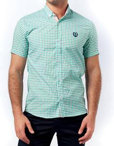 Мужская рубашка клетка, 1213М-green