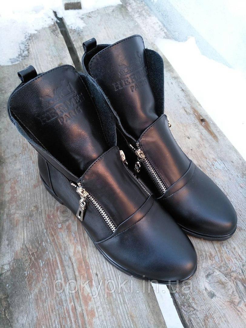 c75d4069e Удобные ботинки женские гермес кожаные осенние черные на низком ходу без  каблука, обувь женская демисезон