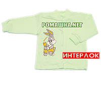 Детская кофточка р. 80-86  демисезонная ткань ИНТЕРЛОК 100% хлопок ТМ Авекс 3173 Зеленый В 86
