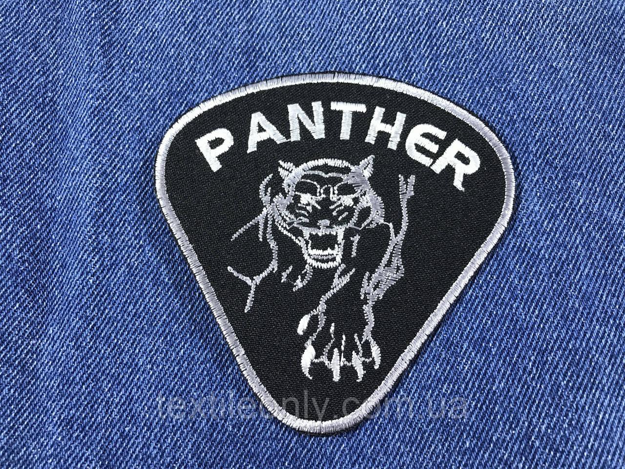 Нашивка Пантера цвет черно белый 95x95мм
