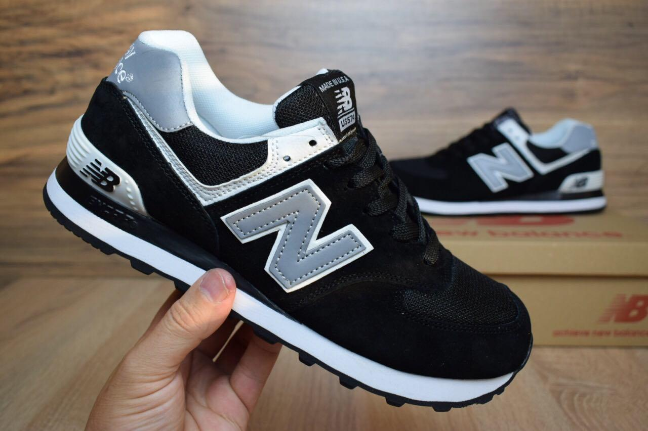 Мужские+подростковые кроссовки New Balance 574 черные с белым замша реплика  + живые фото d6391aae729