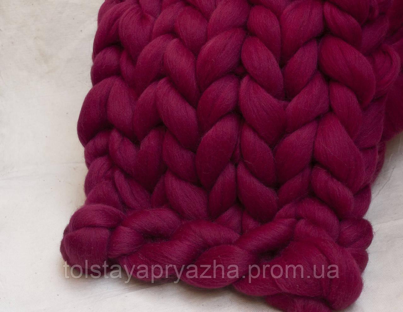 Плед из шерсти (цвет рубин)