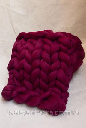 Плед из шерсти (цвет рубин), фото 2