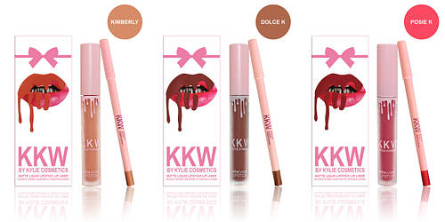Набор Kylie KKW Matte Liquid Lipstick and Lip Liner (жидкая помада и карандаш)