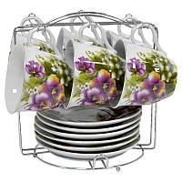 Чайный набор Фиолетовые цветы из 12 предметов на металлической подставке Оселя 21-245-009