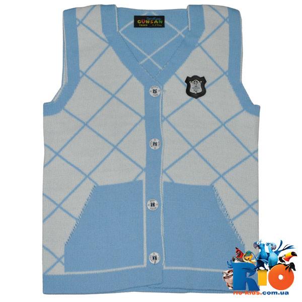 Детский жилет вязаный c карманами, для мальчиков от 6 мес - 5 лет