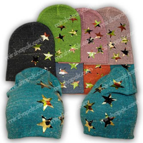 Вязаная шапка для девочки со звездами милитари (хаки), KY46