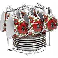 Чайный набор Красный мак из 12 предметов на металлической подставке Оселя 21-245-010