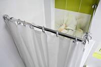 Угловой карниз для шторы в ванну 80х80 см хром