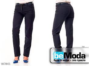 Модные брюки женские Blue прямого фасона синие