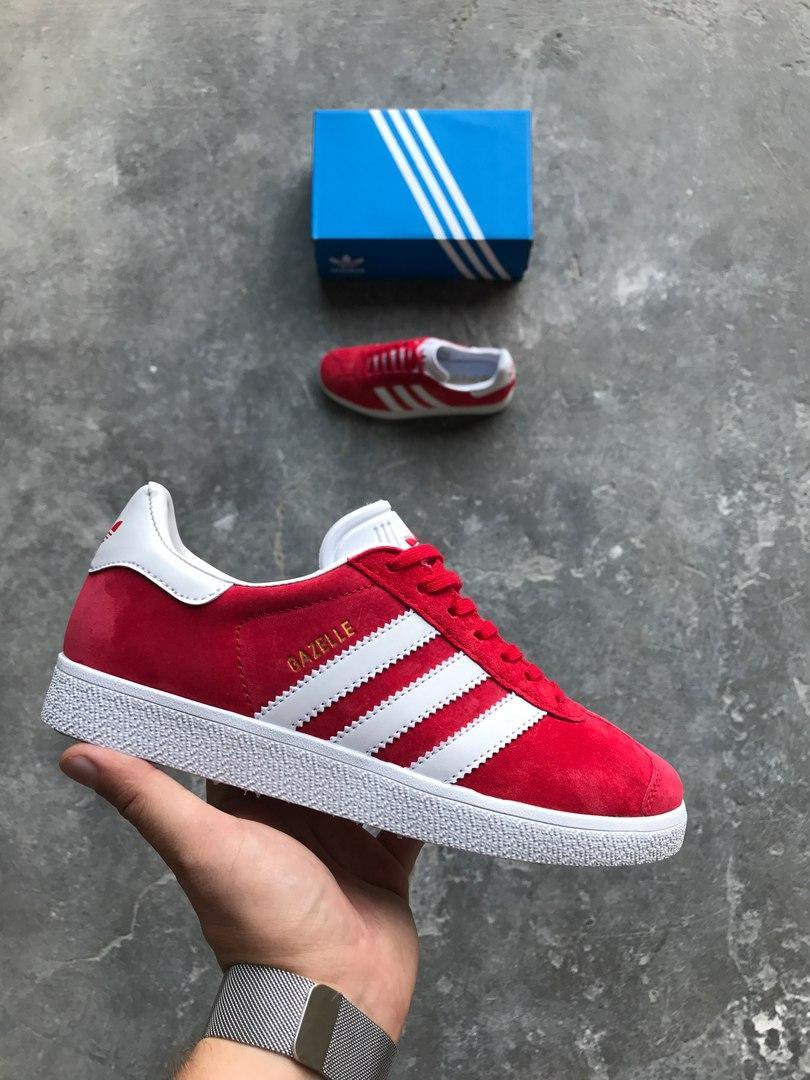 Кроссовки Adidas Gazelle (Scarlet / White) (Реплика ААА+)
