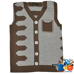 Детский жилет вязаный c карманами, для мальчиков от 5-8 лет