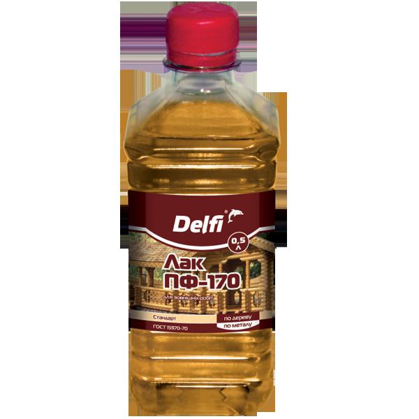 Лак для наружных работ Delfi ПФ-170, бесцветный 0,5 л