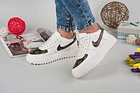 Кроссовки NikeViton класса люкс.  Натуральная кожа. Цвет белый. Р-р 36-40.