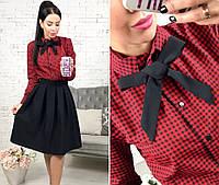 Костюм женский юбка-солнце+рубашка в клетку, цвет - черный