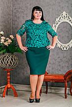 Праздничное женское зеленое платье с кружевом