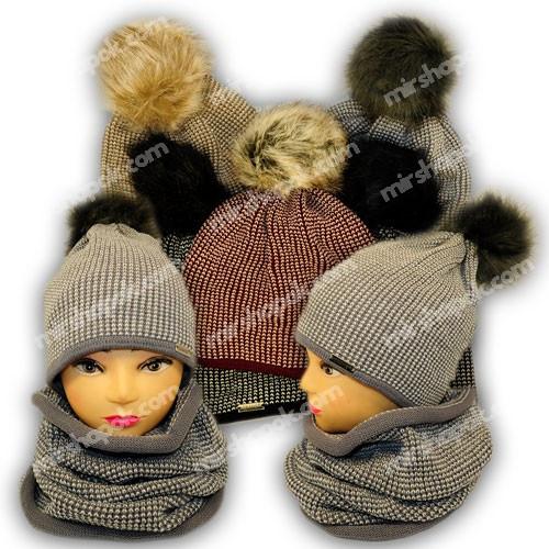 Комплект шапка и шарф (хомут) с помпоном из искусственного меха для девушек, Польша, подкладка флис, BM18P