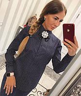 Женская стильная хлопковая рубашка с брошкой (2 цвета)