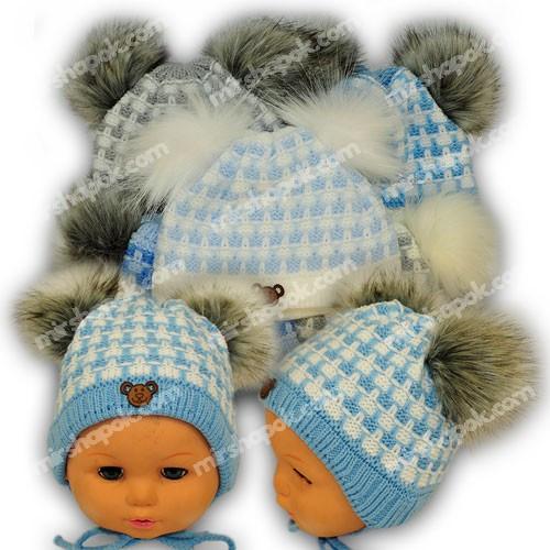 вязаная шапочка для мальчика Grans польша утеплитель флис N95fp купить оптом от