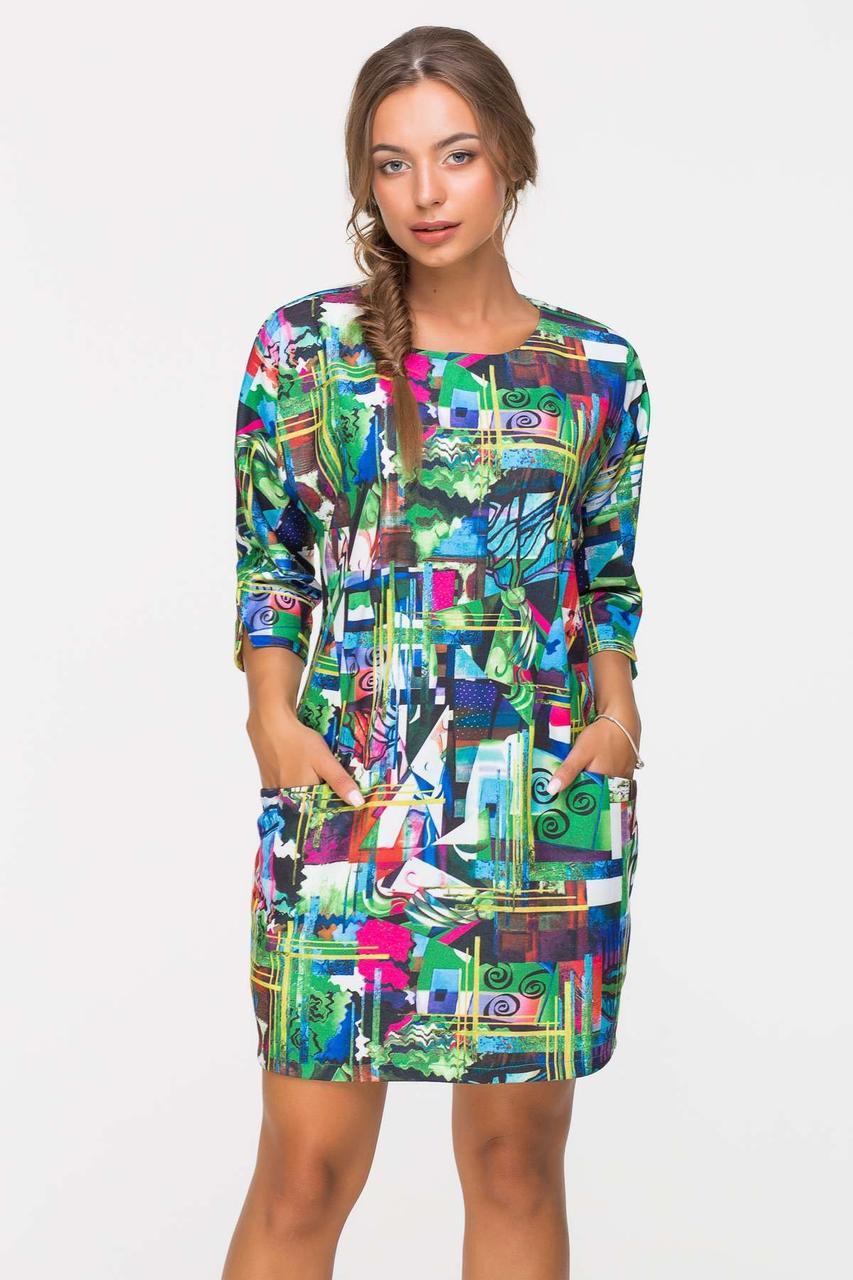 Платье прямого силуэта MONE зеленое