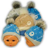 Вязаная шапочка для мальчика, Grans (Польша), утеплитель флис, N96F