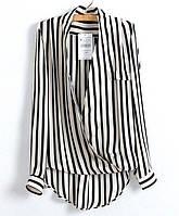 Рубашка женская шифоновая в полоску с запахом Zara,стильная одежда