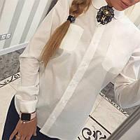 Женская стильная хлопковая рубашка с брошкой (3 цвета)
