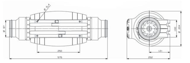 размер вентилятора Soler&Palau TD-250/100 SILENT