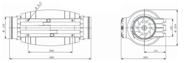размер вентилятора Soler&Palau TD-350/125 SILENT