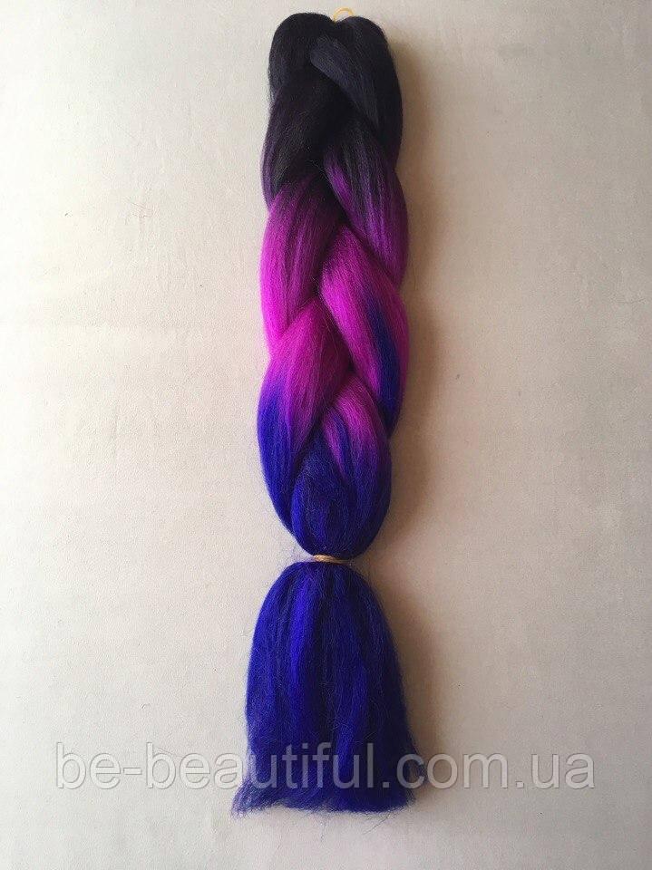 Канекалон цвет черно/сиренево/темно-синий 130 см