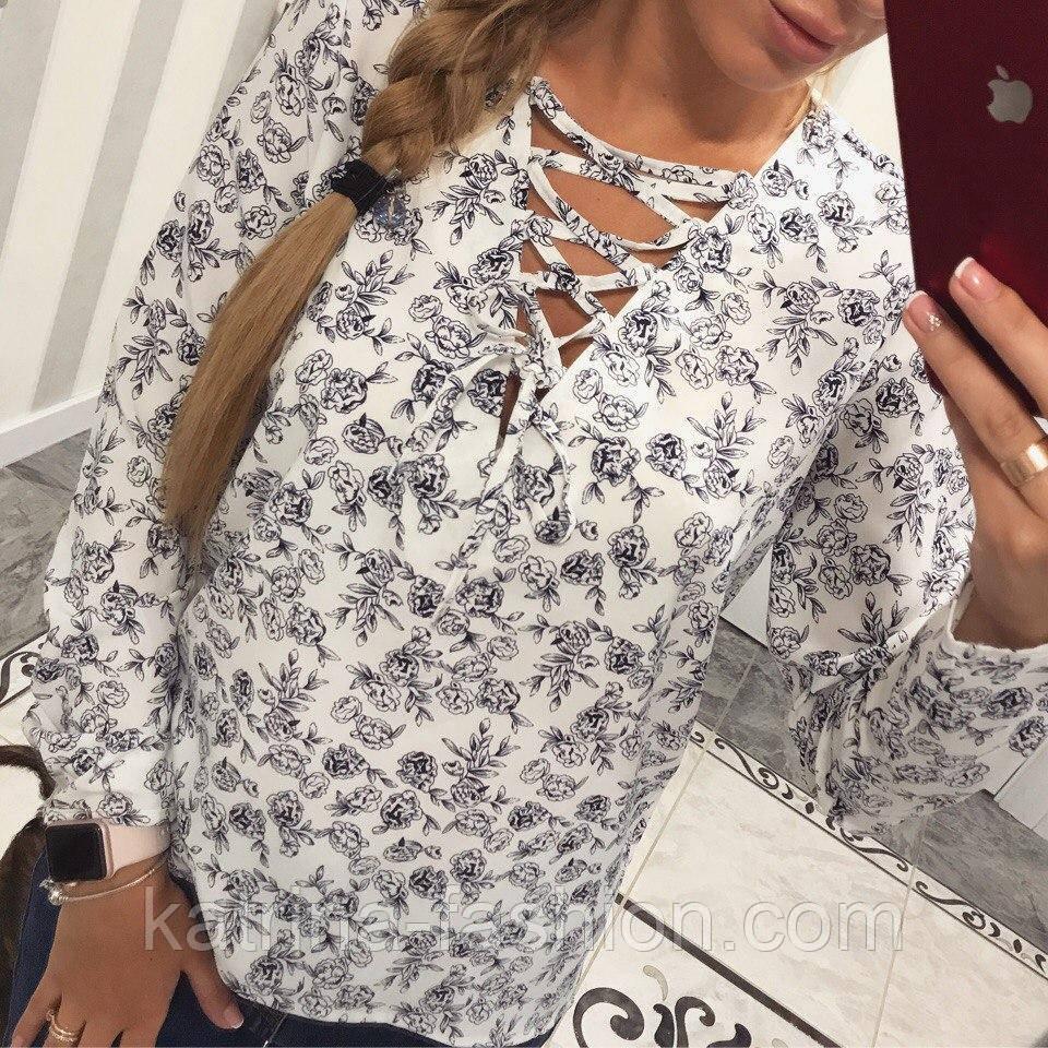Женская красивая блуза со шнуровкой (4 цвета)