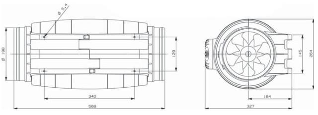размер вентилятора Soler&Palau TD-1000/200 SILENT