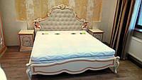 Кровать двухспальная резная из натурального дерева (художественная роспись)