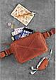 """Кожаная женская поясная сумка """"DropBag mini"""". Светло-коричневая, фото 8"""